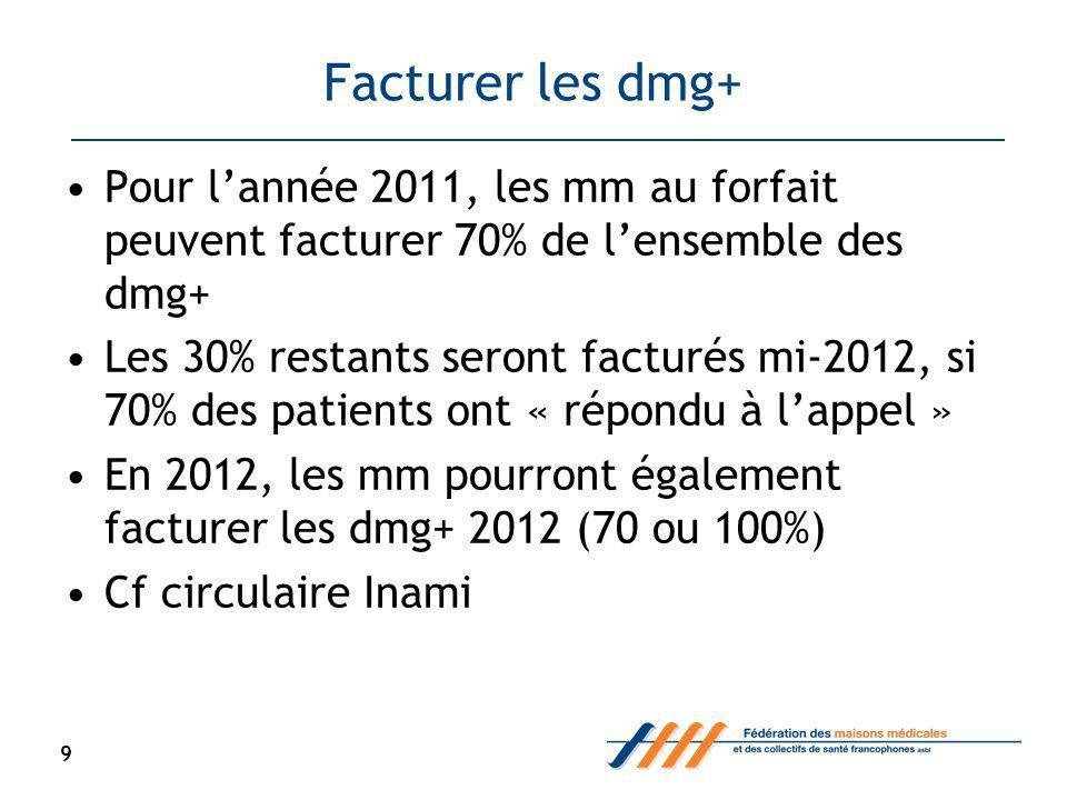 Facturer les dmg+ Pour lannée 2011, les mm au forfait peuvent facturer 70% de lensemble des dmg+ Les 30% restants seront facturés mi-2012, si 70% des patients ont « répondu à lappel » En 2012, les mm pourront également facturer les dmg+ 2012 (70 ou 100%) Cf circulaire Inami 9