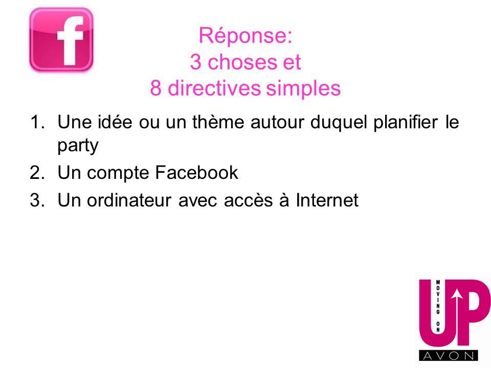 Réponse: 3 choses et 8 directives simples 1.Une idée ou un thème autour duquel planifier le party 2.Un compte Facebook 3.Un ordinateur avec accès à In
