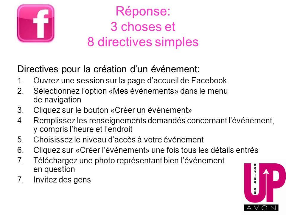 Réponse: 3 choses et 8 directives simples Directives pour la création dun événement: 1.Ouvrez une session sur la page daccueil de Facebook 2.Sélection