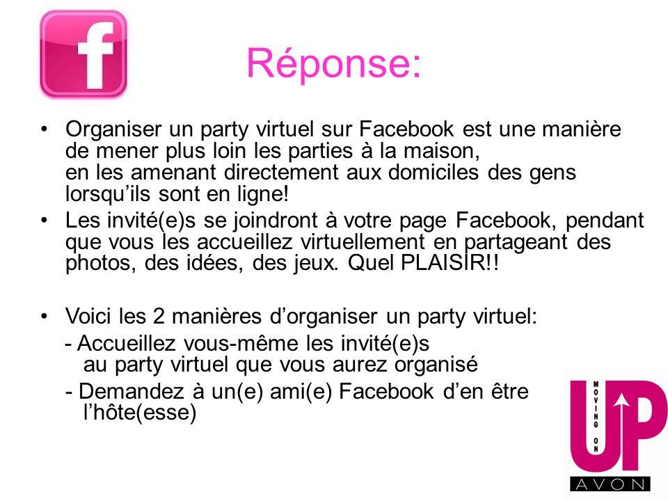 Réponse: Organiser un party virtuel sur Facebook est une manière de mener plus loin les parties à la maison, en les amenant directement aux domiciles