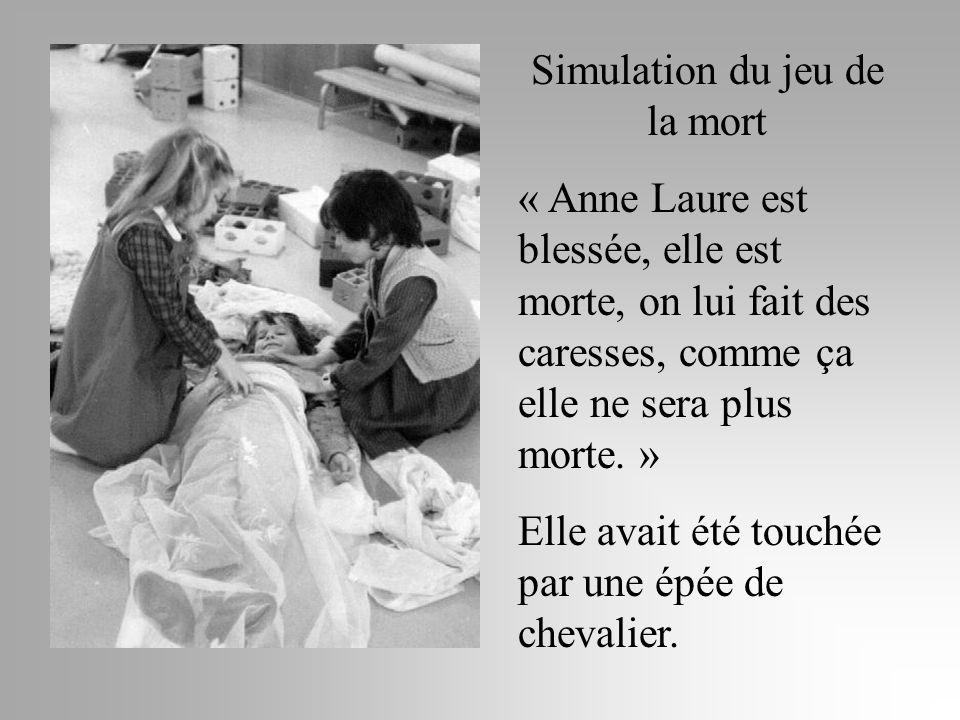 Simulation du jeu de la mort « Anne Laure est blessée, elle est morte, on lui fait des caresses, comme ça elle ne sera plus morte. » Elle avait été to