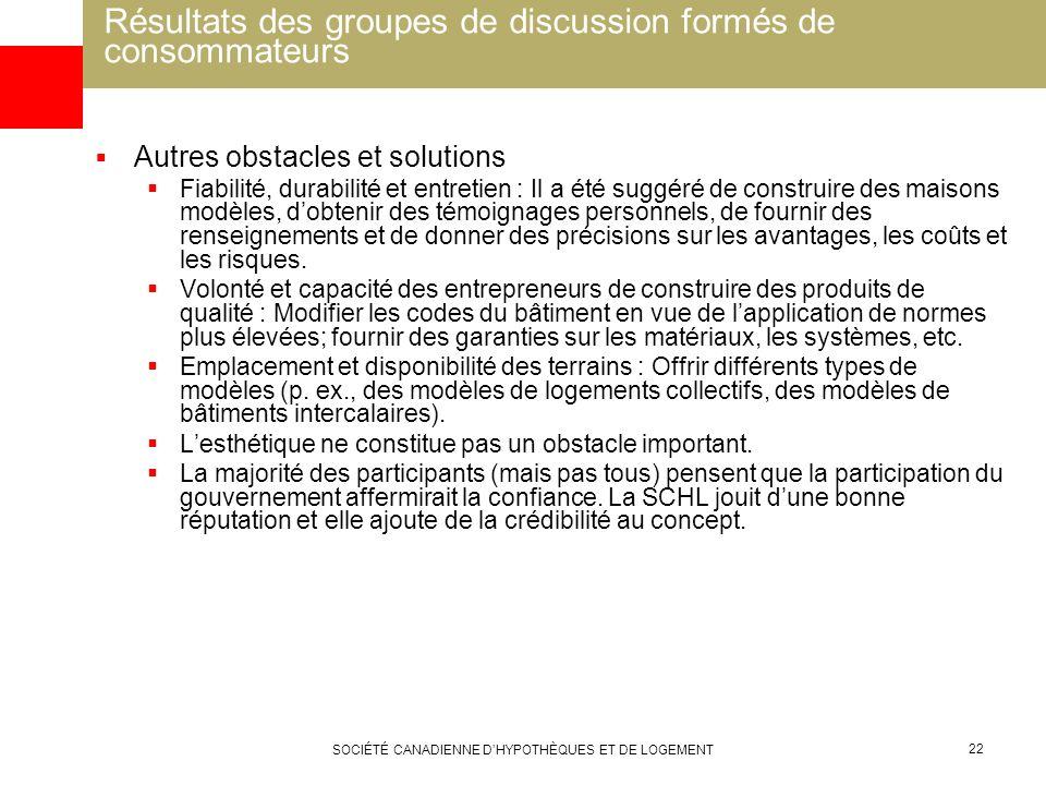 SOCIÉTÉ CANADIENNE DHYPOTHÈQUES ET DE LOGEMENT 22 Résultats des groupes de discussion formés de consommateurs Autres obstacles et solutions Fiabilité,