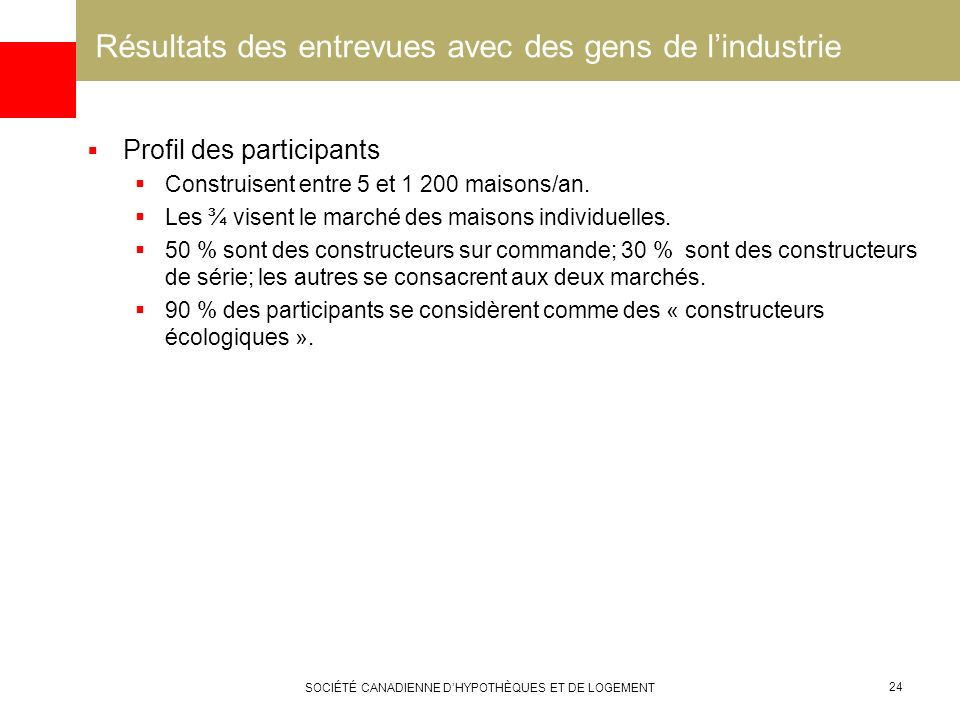 SOCIÉTÉ CANADIENNE DHYPOTHÈQUES ET DE LOGEMENT 24 Résultats des entrevues avec des gens de lindustrie Profil des participants Construisent entre 5 et