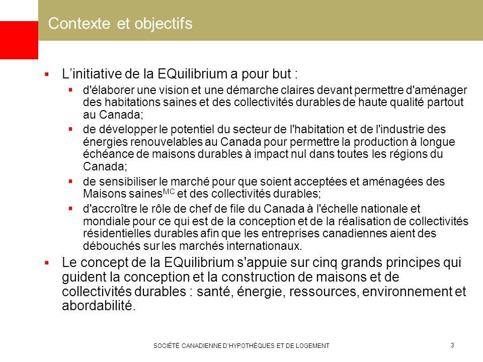 SOCIÉTÉ CANADIENNE DHYPOTHÈQUES ET DE LOGEMENT 3 Contexte et objectifs Linitiative de la EQuilibrium a pour but : d'élaborer une vision et une démarch