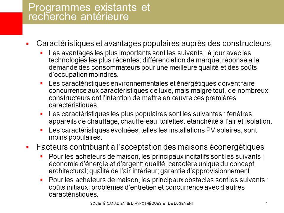 SOCIÉTÉ CANADIENNE DHYPOTHÈQUES ET DE LOGEMENT 7 Caractéristiques et avantages populaires auprès des constructeurs Les avantages les plus importants s