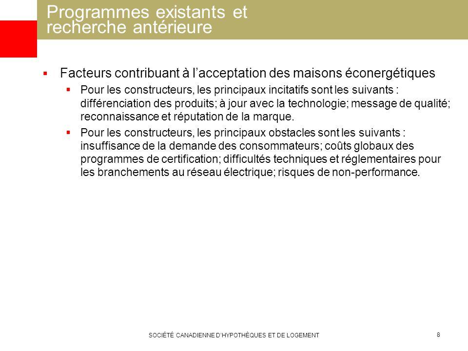 SOCIÉTÉ CANADIENNE DHYPOTHÈQUES ET DE LOGEMENT 8 Facteurs contribuant à lacceptation des maisons éconergétiques Pour les constructeurs, les principaux