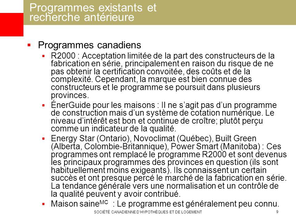 SOCIÉTÉ CANADIENNE DHYPOTHÈQUES ET DE LOGEMENT 9 Programmes canadiens R2000 : Acceptation limitée de la part des constructeurs de la fabrication en sé
