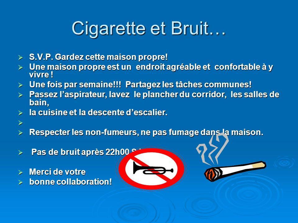 Cigarette et Bruit… S.V.P.Gardez cette maison propre.