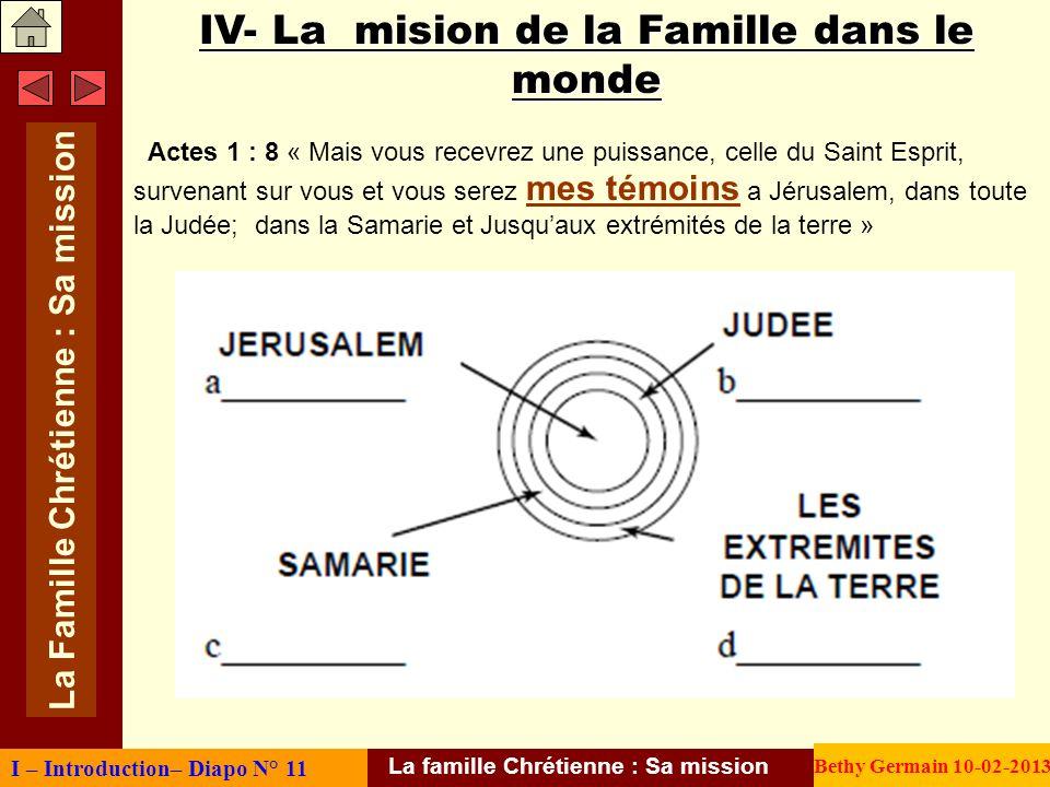 IV- La mision de la Famille dans le monde Actes 1 : 8 « Mais vous recevrez une puissance, celle du Saint Esprit, survenant sur vous et vous serez mes