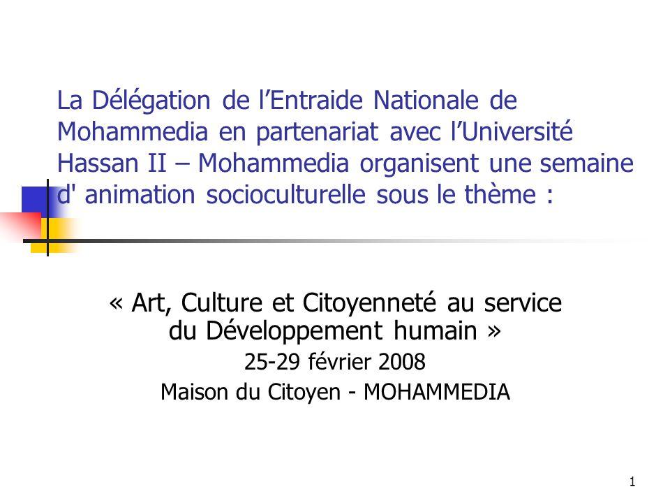 32 Compétition déchecs Horaire : 18h – 20h Partenaires : Délégation de lEntraide nationale de Mohammedia Association dEchecs Fédala Association sociale et culturelle Derb Marrakech
