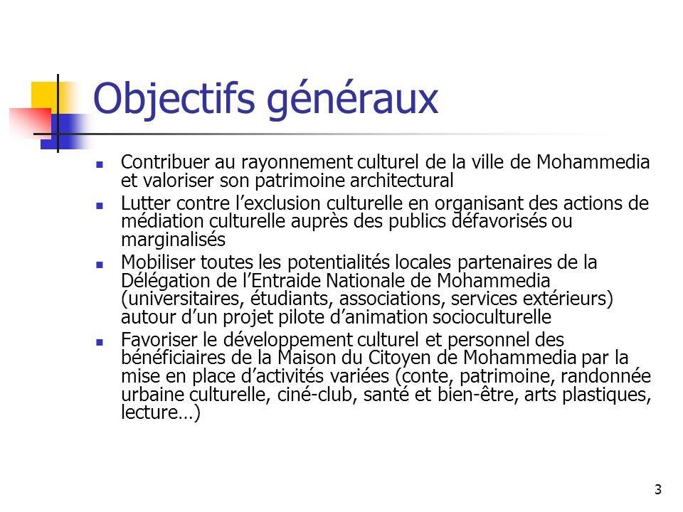 24 Atelier Contes Horaire : 18h30 – 20h Partenaires : Délégation de lEntraide Nationale de Mohammedia Association sociale et culturelle Derb Marrakech Licence professionnelle de Médiation culturelle