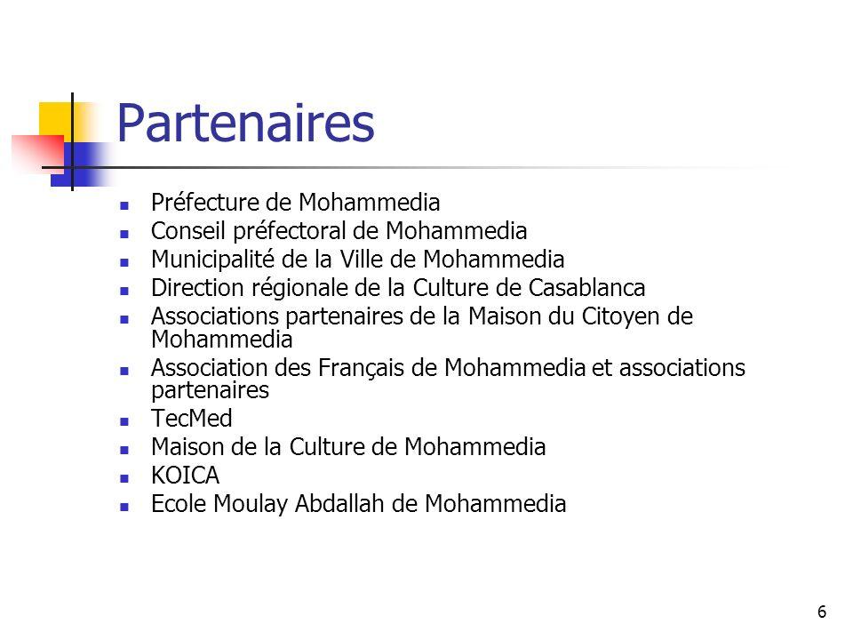 7 DATE PROGRAMME DES ACTIVITES PRINCIPALES DE LA SEMAINE LIEU LUNDI 25 FEVRIER 2008 Maison du Citoyen de Mohammedia Matinée : de 9h30 à 12h Inauguration de la Semaine 9h30 : Table ronde sur le thème de la semaine.