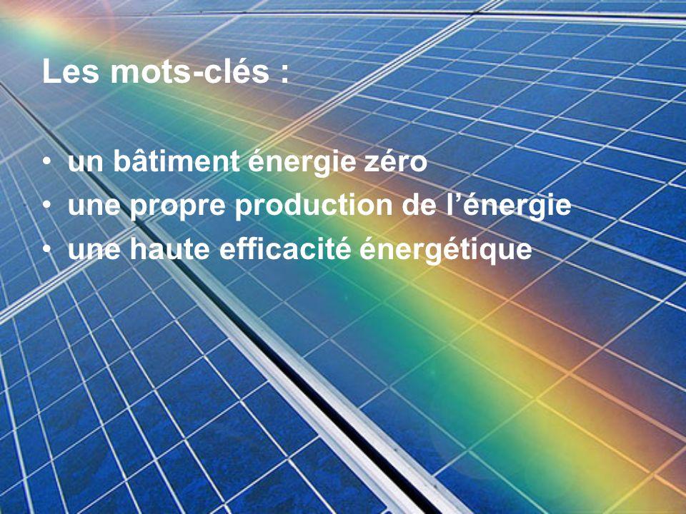 Les mots-clés : un bâtiment énergie zéro une propre production de lénergie une haute efficacité énergétique