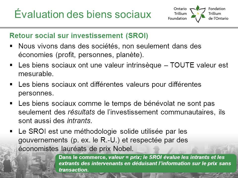 Évaluation des biens sociaux Retour social sur investissement (SROI) Nous vivons dans des sociétés, non seulement dans des économies (profit, personne