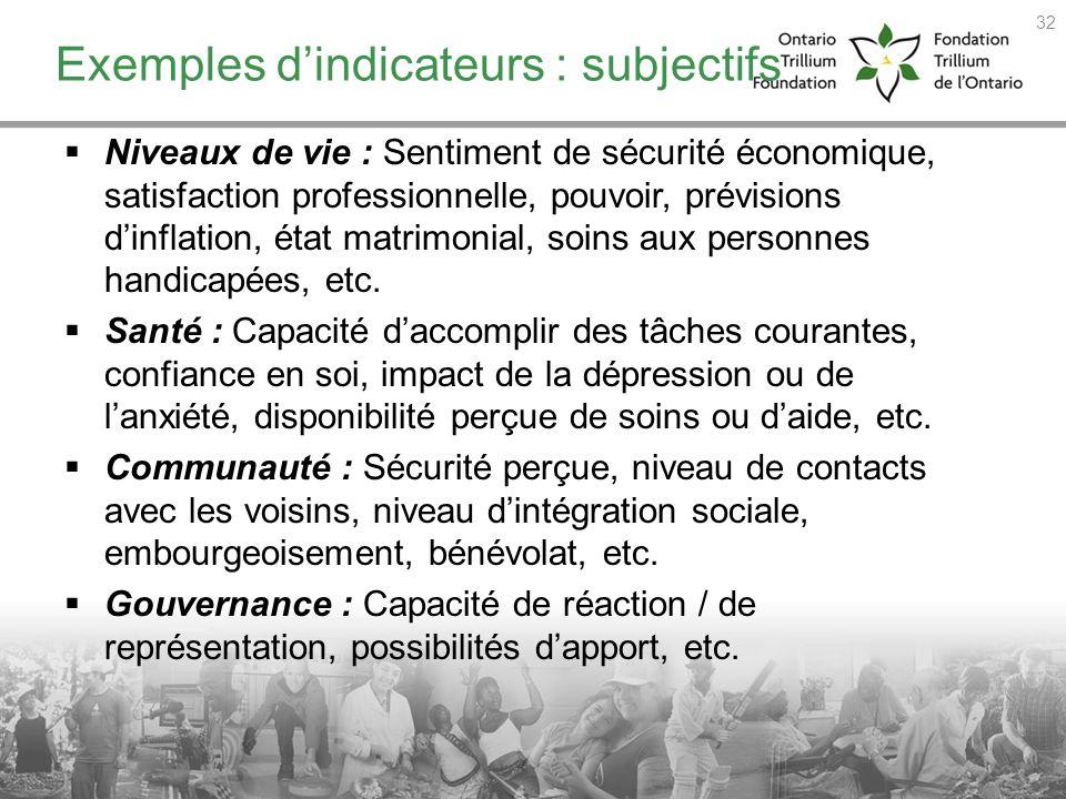 Exemples dindicateurs : subjectifs Niveaux de vie : Sentiment de sécurité économique, satisfaction professionnelle, pouvoir, prévisions dinflation, ét