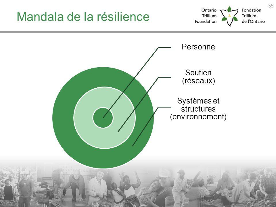 Mandala de la résilience Personne Soutien (réseaux) Systèmes et structures (environnement) 35