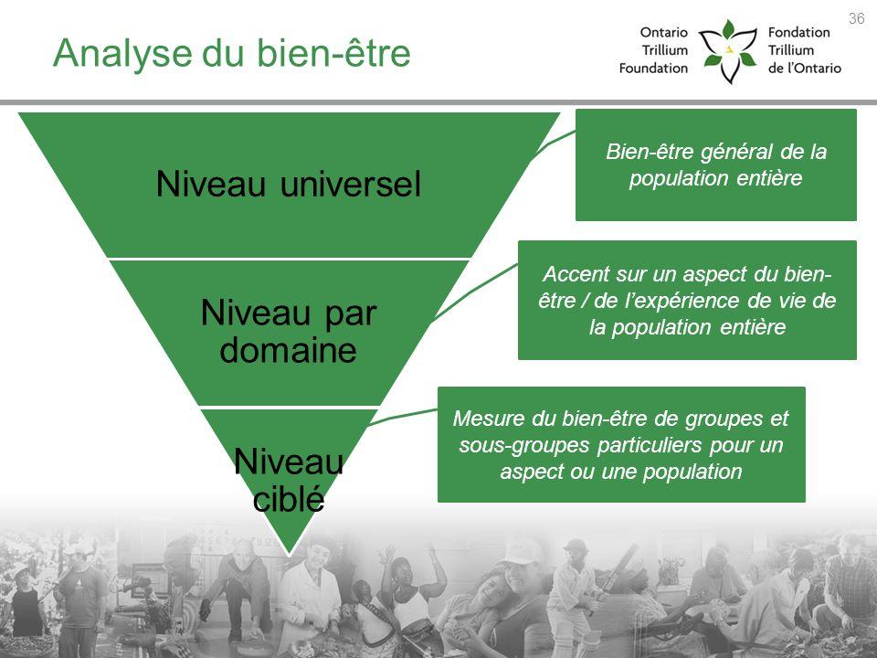 Analyse du bien-être Niveau universel Niveau par domaine Niveau ciblé Bien-être général de la population entière Accent sur un aspect du bien- être /