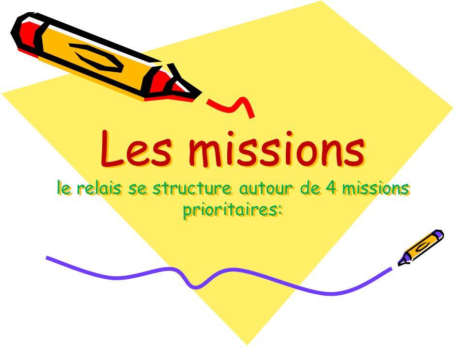Les missions le relais se structure autour de 4 missions prioritaires: