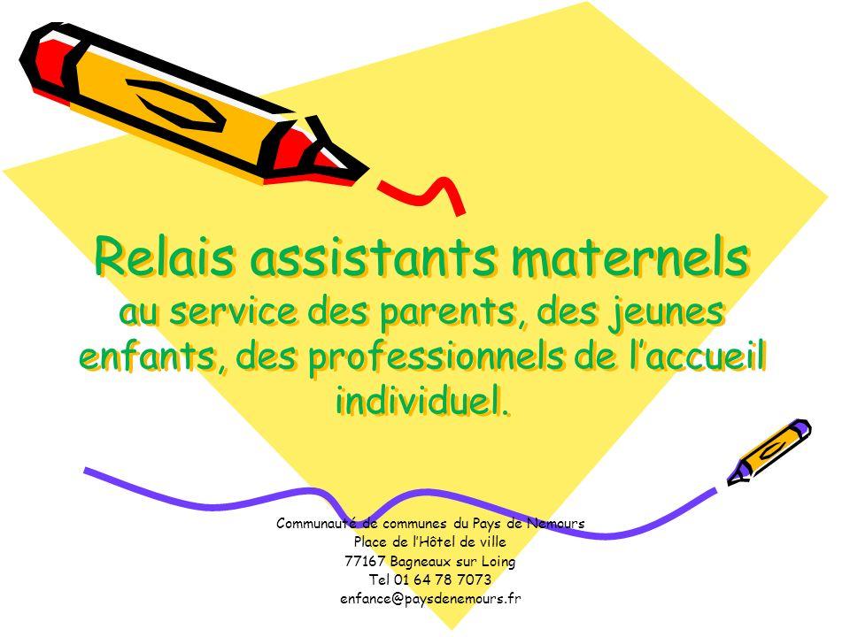 Relais assistants maternels au service des parents, des jeunes enfants, des professionnels de laccueil individuel. Communauté de communes du Pays de N