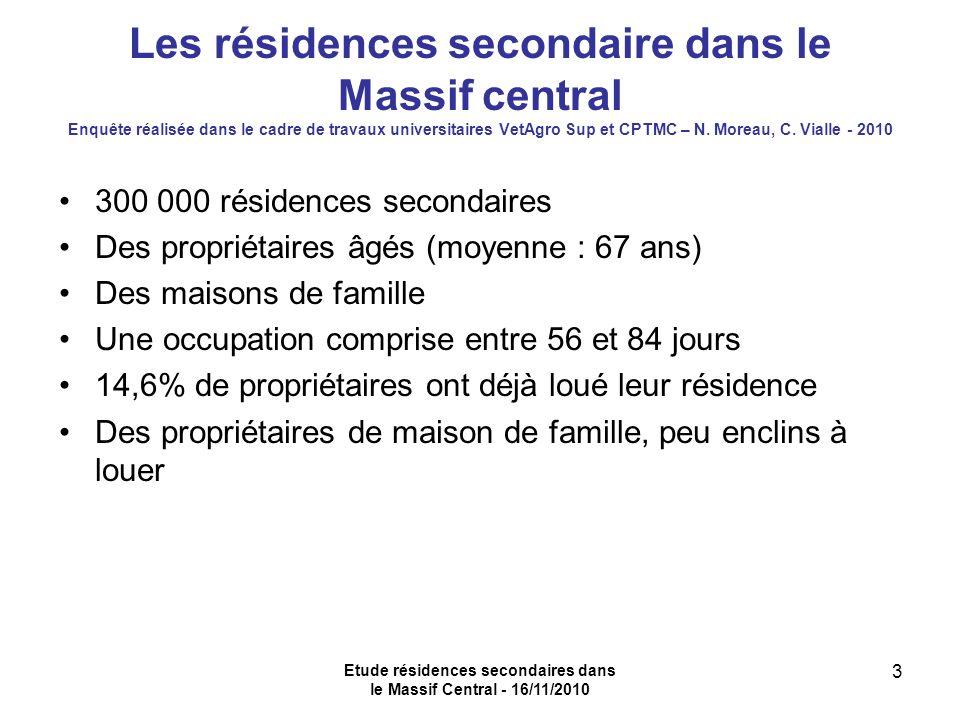Etude résidences secondaires dans le Massif Central - 16/11/2010 3 Les résidences secondaire dans le Massif central Enquête réalisée dans le cadre de travaux universitaires VetAgro Sup et CPTMC – N.