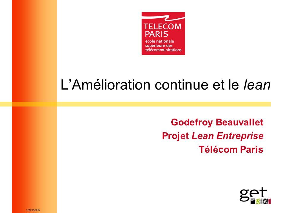 12/01/2006 LAmélioration continue et le lean Godefroy Beauvallet Projet Lean Entreprise Télécom Paris