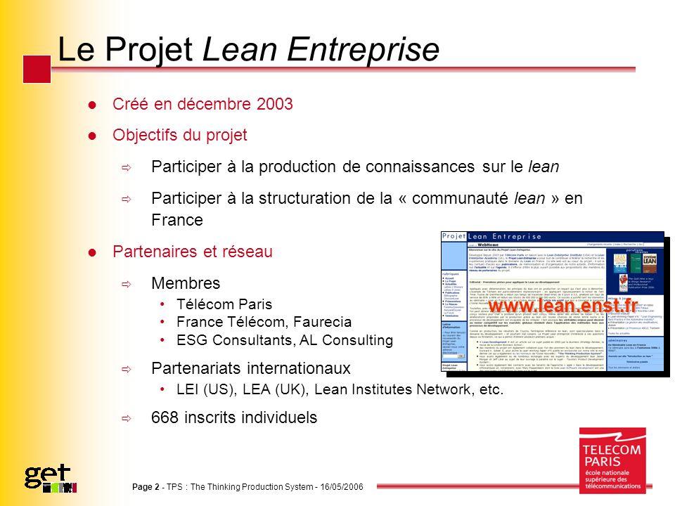 Page 2 - TPS : The Thinking Production System - 16/05/2006 Le Projet Lean Entreprise Créé en décembre 2003 Objectifs du projet Participer à la product