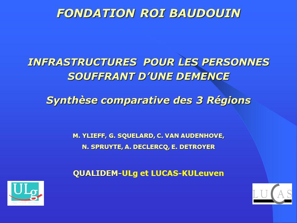 FONDATION ROI BAUDOUIN INFRASTRUCTURES POUR LES PERSONNES SOUFFRANT DUNE DEMENCE Synthèse comparative des 3 Régions M. YLIEFF, G. SQUELARD, C. VAN AUD