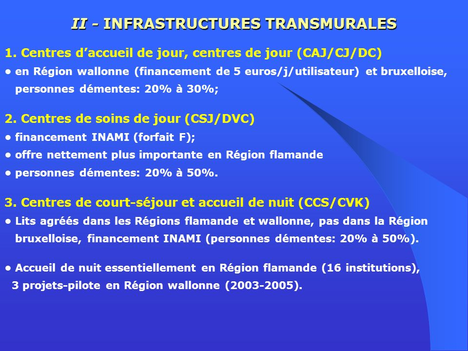 II - INFRASTRUCTURES TRANSMURALES 1. Centres daccueil de jour, centres de jour (CAJ/CJ/DC) en Région wallonne (financement de 5 euros/j/utilisateur) e