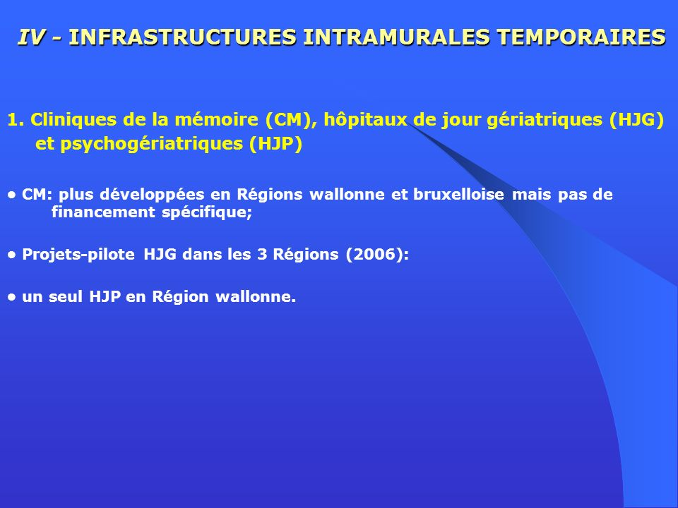 IV - INFRASTRUCTURES INTRAMURALES TEMPORAIRES 1. Cliniques de la mémoire (CM), hôpitaux de jour gériatriques (HJG) et psychogériatriques (HJP) CM: plu