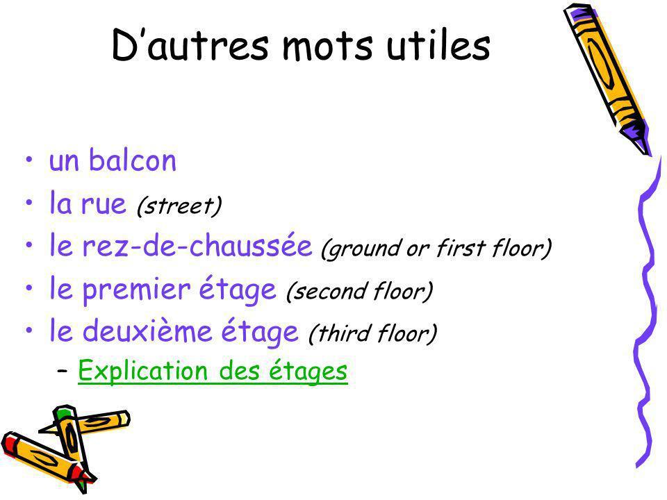 Dautres mots utiles un balcon la rue (street) le rez-de-chaussée (ground or first floor) le premier étage (second floor) le deuxième étage (third floo