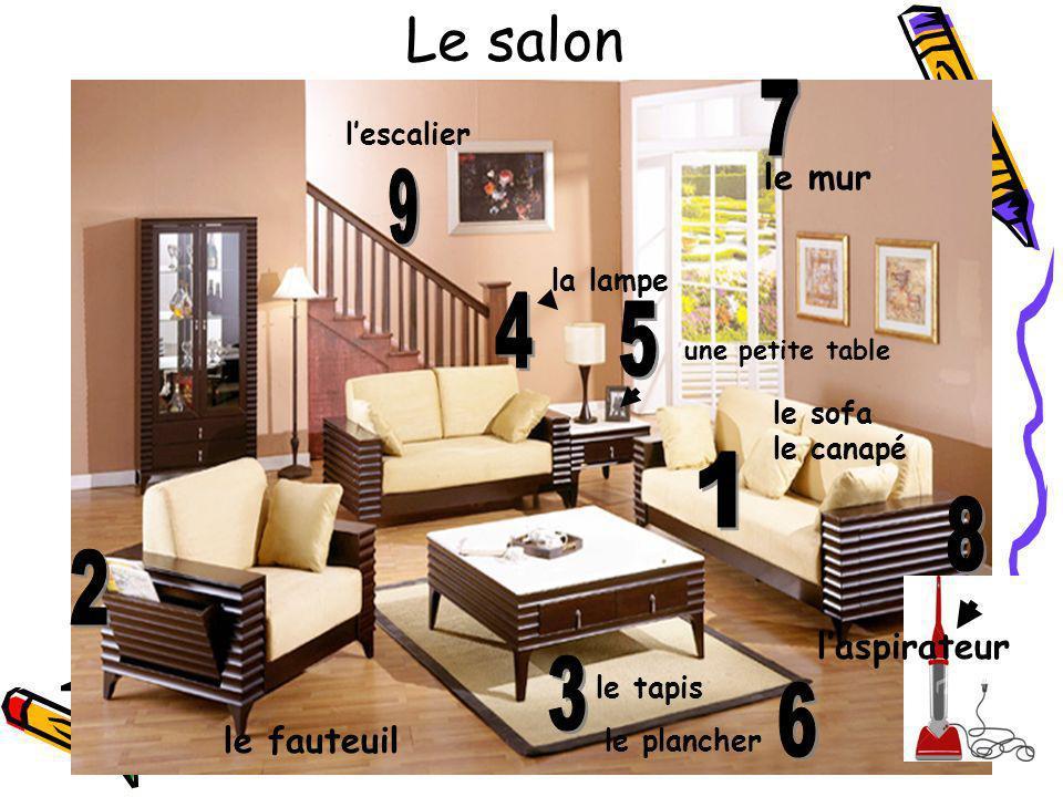 Le salon le sofa le canapé le fauteuil le tapis la lampe une petite table le plancher le mur laspirateur lescalier