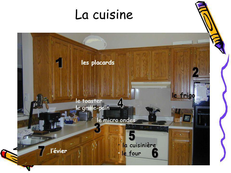 La cuisine le frigo les placards la cuisinière le four le micro ondes le toaster le grille-pain lévier