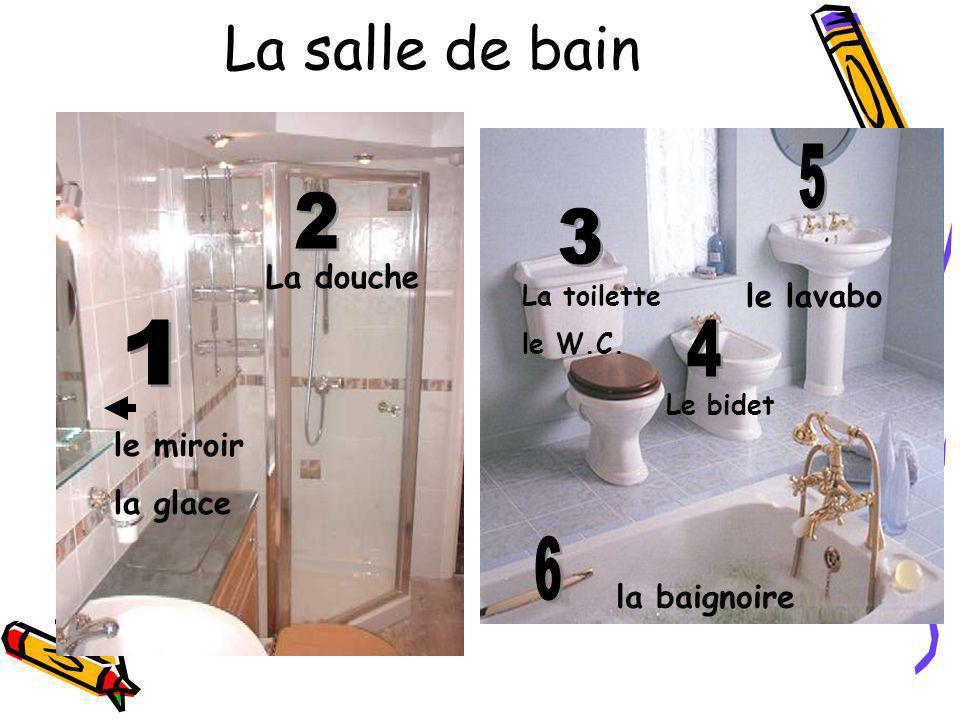 La salle de bain le lavabo La douche Le bidet La toilette le W.C. le miroir la glace la baignoire