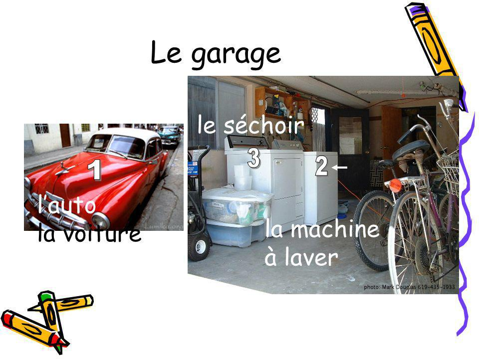 Le garage lauto la voiture la machine à laver le séchoir