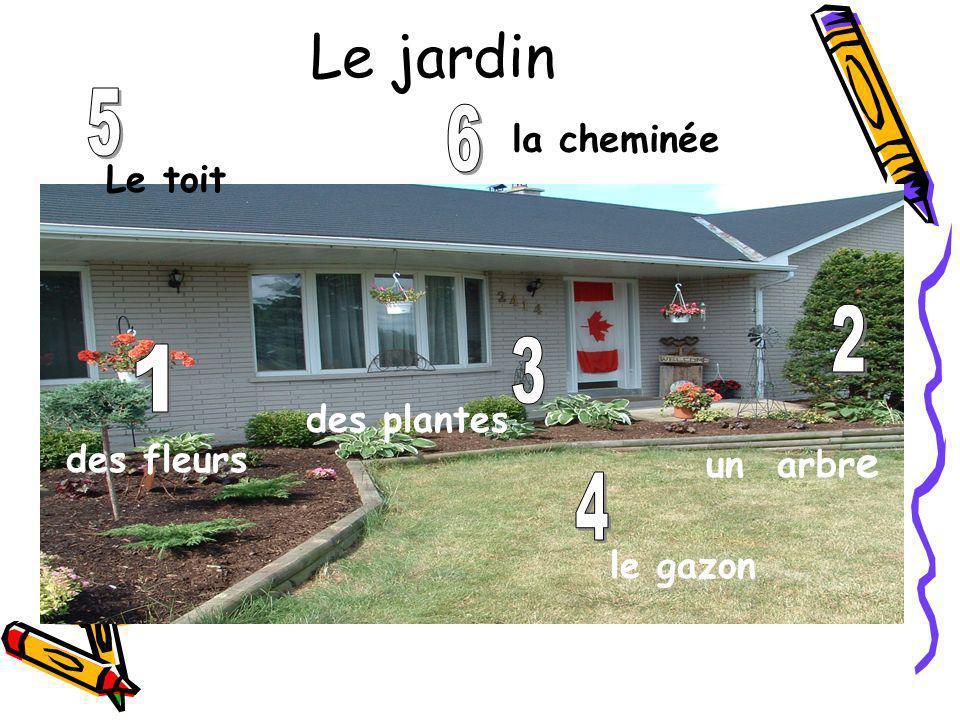Le jardin des fleurs un arbr e des plantes le gazon Le toit la cheminée