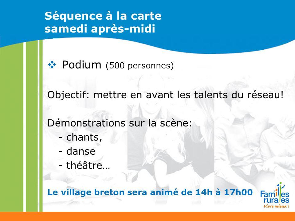 Séquence à la carte samedi après-midi Podium (500 personnes) Objectif: mettre en avant les talents du réseau.