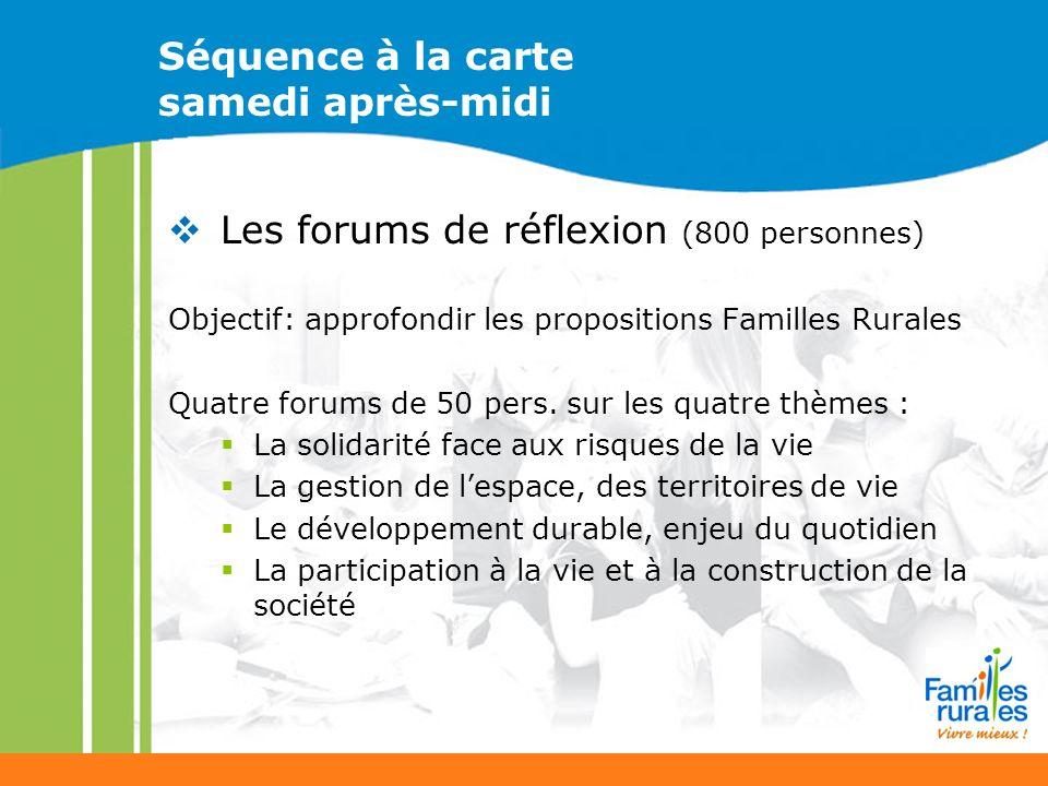 Séquence à la carte samedi après-midi Les forums de réflexion (800 personnes) Objectif: approfondir les propositions Familles Rurales Quatre forums de 50 pers.