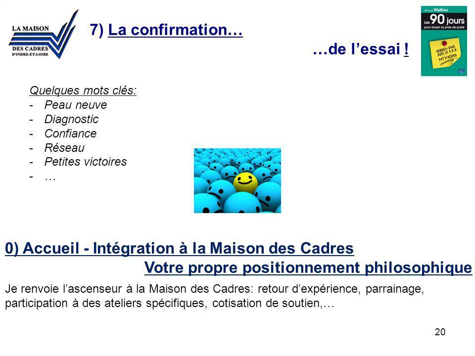 7) La confirmation… …de lessai ! 20 Quelques mots clés: -Peau neuve -Diagnostic -Confiance -Réseau -Petites victoires -… Je renvoie lascenseur à la Ma