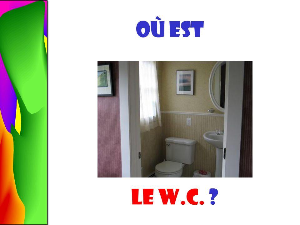 La salle de bains est LÀ-BAS.