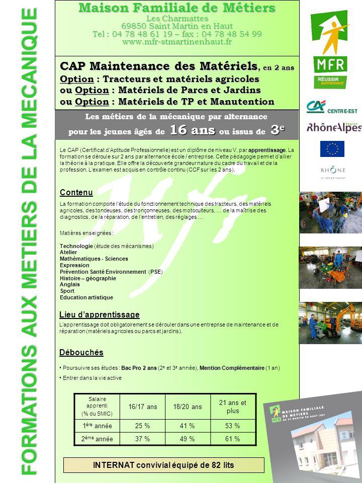 FORMATIONS AUX METIERS DE LA MECANIQUE Mfr Maison Familiale de Métiers Les Charmattes 69850 Saint Martin en Haut Tel : 04 78 48 61 19 – fax : 04 78 48
