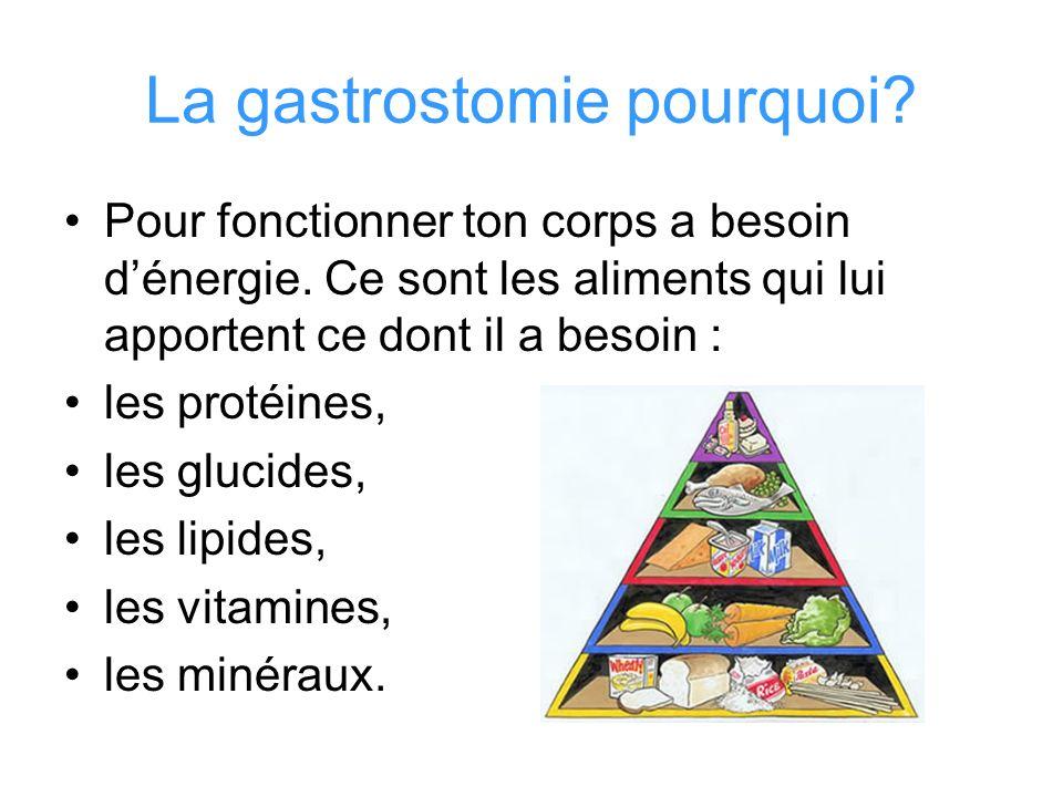 La gastrostomie pourquoi? Pour fonctionner ton corps a besoin dénergie. Ce sont les aliments qui lui apportent ce dont il a besoin : les protéines, le