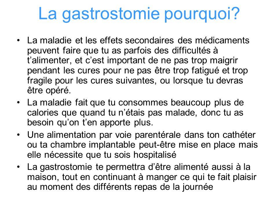La gastrostomie pourquoi? La maladie et les effets secondaires des médicaments peuvent faire que tu as parfois des difficultés à talimenter, et cest i