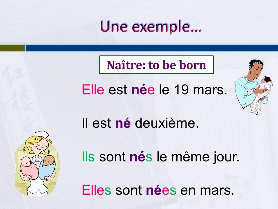 Elle est née le 19 mars.Il est né deuxième. Ils sont nés le même jour.