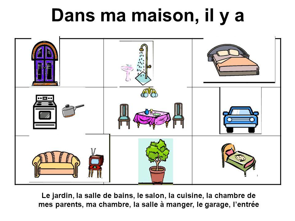 Dans ma maison, il y a ABC dEf GHI Le jardin, la salle de bains, le salon, la cuisine, la chambre de mes parents, ma chambre, la salle à manger, le garage, lentrée