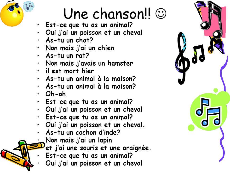 Une chanson!! Est-ce que tu as un animal? Oui jai un poisson et un cheval As-tu un chat? Non mais jai un chien As-tu un rat? Non mais javais un hamste