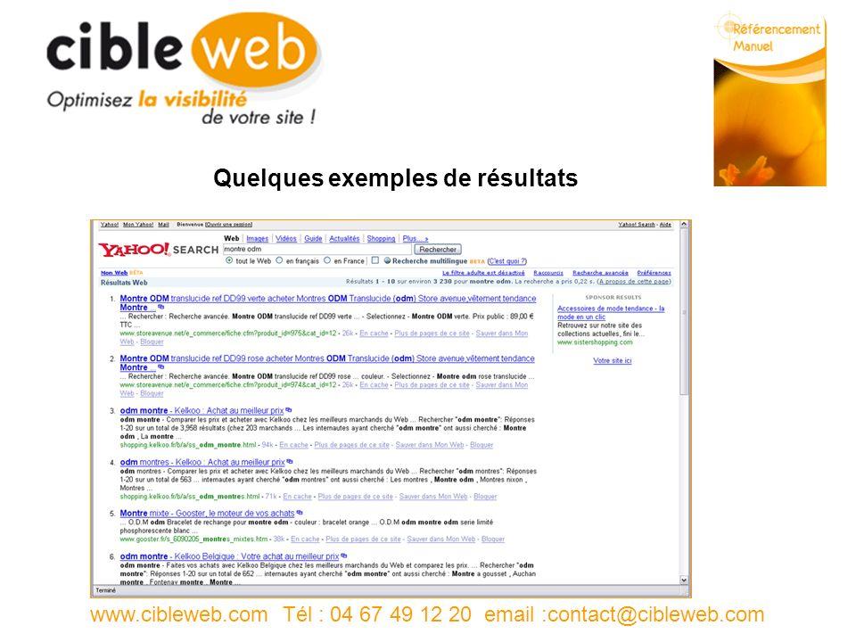www.cibleweb.com Tél : 04 67 49 12 20 email :contact@cibleweb.com Quelques exemples de résultats