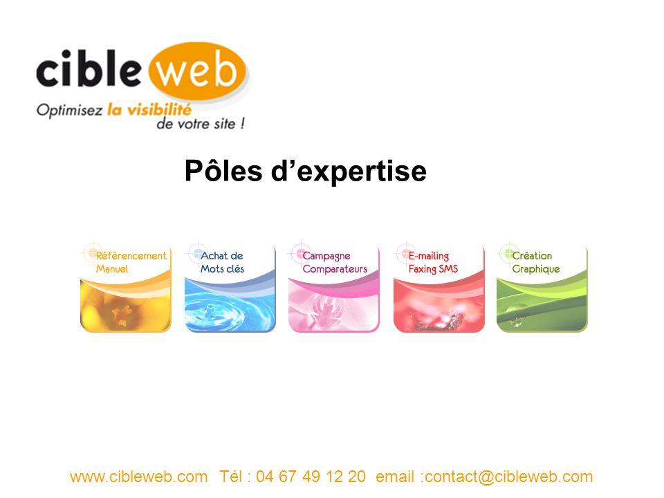 Pôles dexpertise www.cibleweb.com Tél : 04 67 49 12 20 email :contact@cibleweb.com