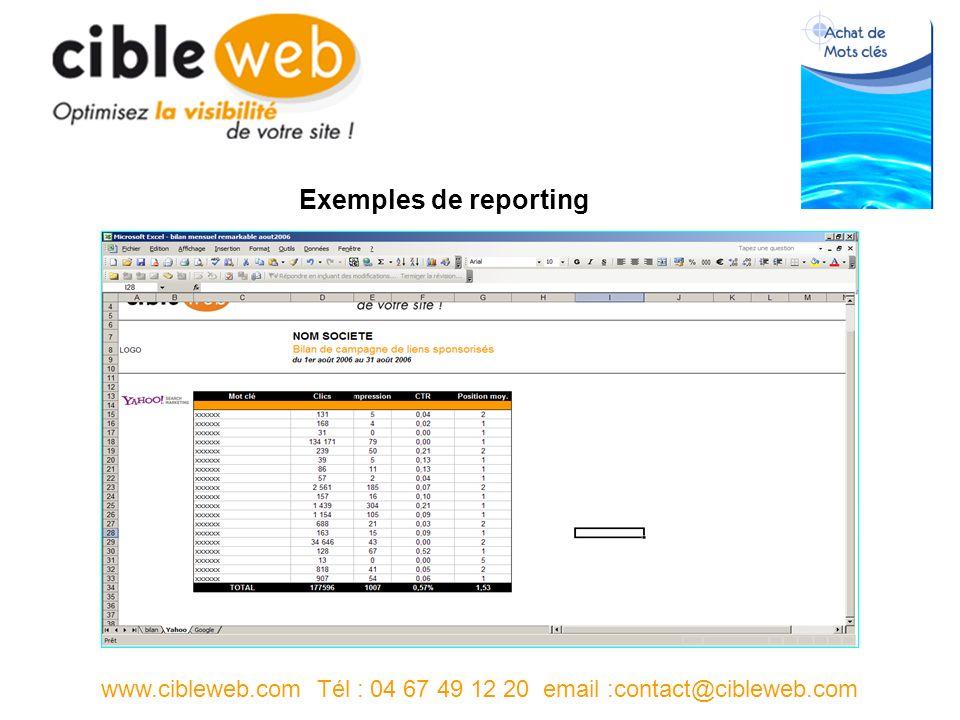 www.cibleweb.com Tél : 04 67 49 12 20 email :contact@cibleweb.com Exemples de reporting