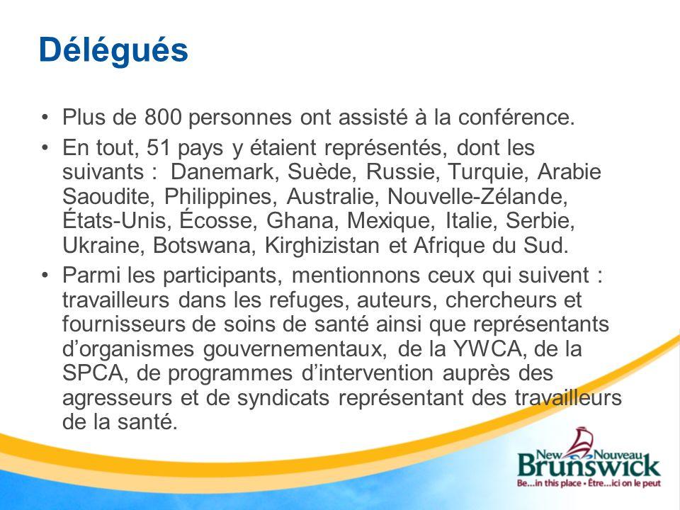 Déléguées du Nouveau-Brunswick En tout, huit déléguées du Nouveau-Brunswick ont assisté à la conférence.