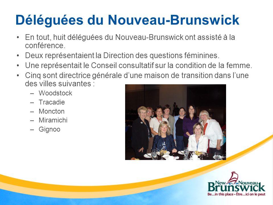Déléguées du Nouveau-Brunswick En tout, huit déléguées du Nouveau-Brunswick ont assisté à la conférence. Deux représentaient la Direction des question